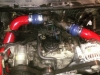 Mirror red powder coated intercooler tubes on 7.3 diesel